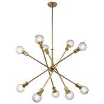 "Kichler: Mid-Century 10-light rectangular chandelier from the Armstrong collection featuring a ""sputnik"" design with adjustable arms."